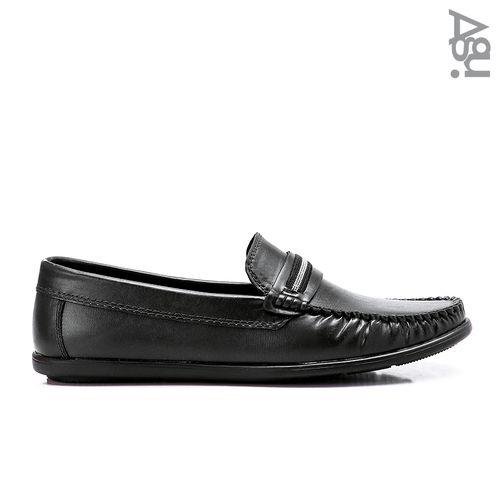 حذاء جلد سهل الارتداء - اسود