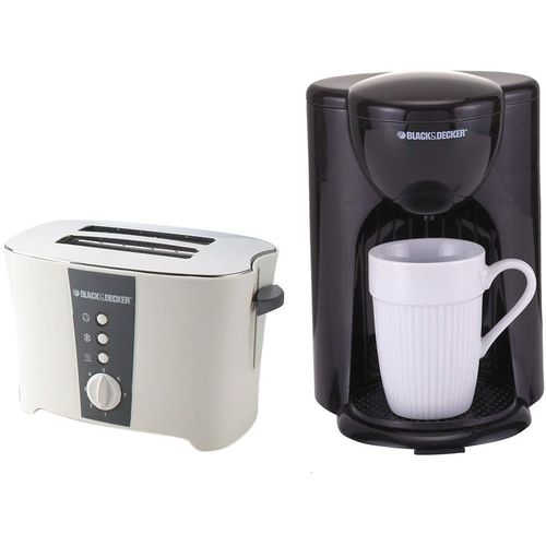 ET122DCM25 2 Slice Cool Touch Toaster - White + Coffee Maker - 300 W - Black