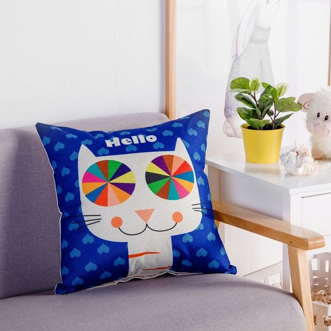 Cartoon Cat Pattern Linen Cotton Cushion Bed Backrest Support Throw Pillow with Pillow Insert,  Size: 45cm x 45cm –  مصر