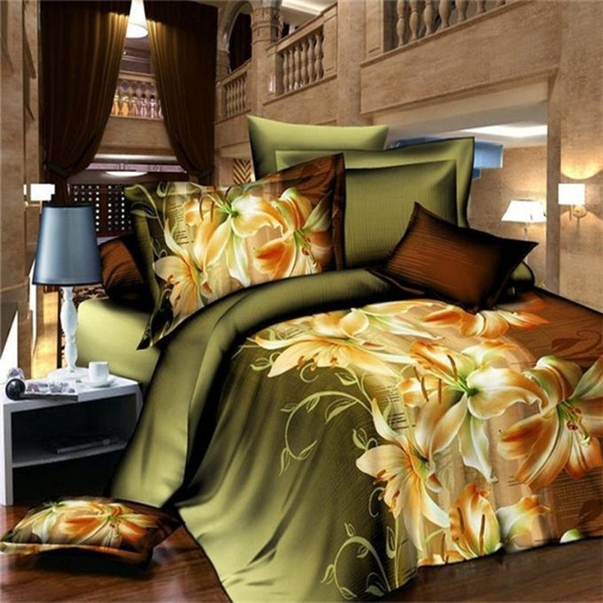 3D Lily Single Size Bedding Sheet Pillowcase Set Printed Duvet Cover –  مصر