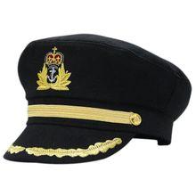 8747785017b Unisex Men Deluxe Sailor Hat Officer Stag Night Nautical Fancy Dress  Captain Cap Black
