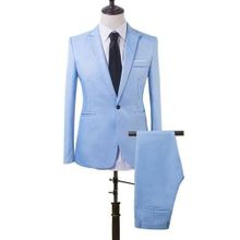 100d4763a890b Men Slim Fit Business Leisure One Button Formal Two-Piece Suit For Groom  Wedding-