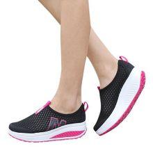 1ea6f84ad7a Jiahsyc Store Fashion Women Platform Shoes Women Loafers Breathable Air  Mesh Swing Wedges Shoe-Black