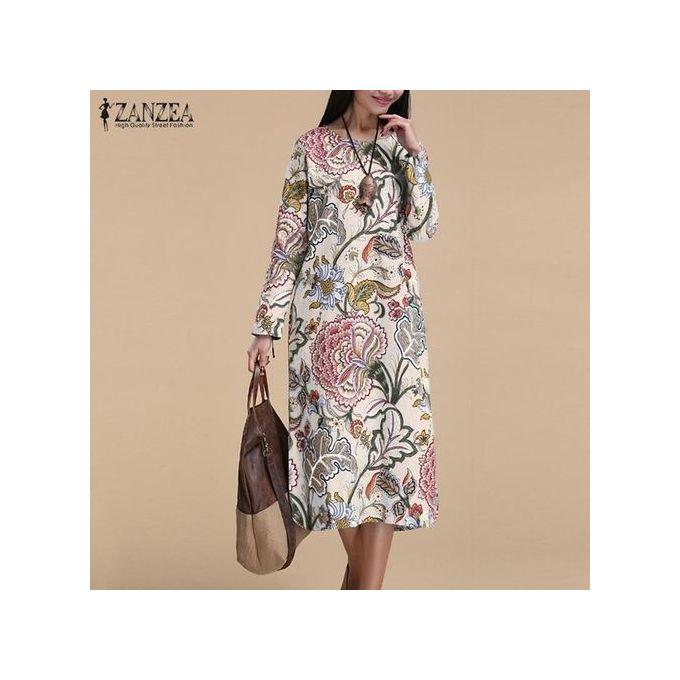 41e66540bc0 ... ZANZEA Vintage Women Pullover Loose Dress Casual Long Sleeve O Neck  Dresses Robe Plus Size Cotton ...
