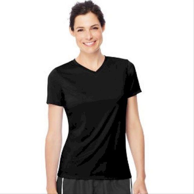 Hanes Sport Womens Cool DRI Performance V-Neck Tee [Wow Pink, X-Large]