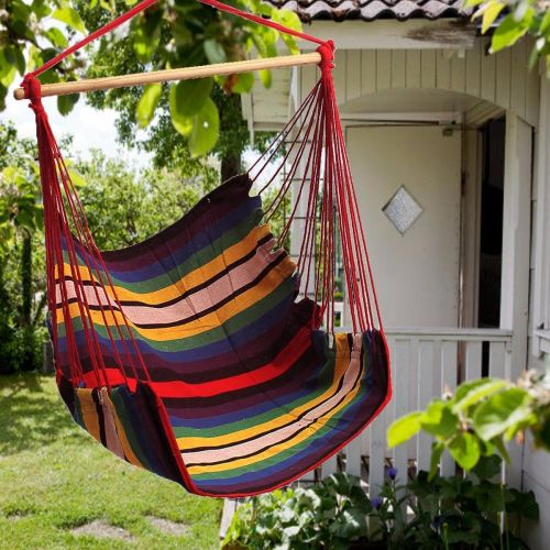 Garden Patio Porch Hanging Cotton Rope Swing Chair Seat Hammock Swinging Wood & Garden Patio Porch Hanging Cotton Rope Swing Chair Seat Hammock ...
