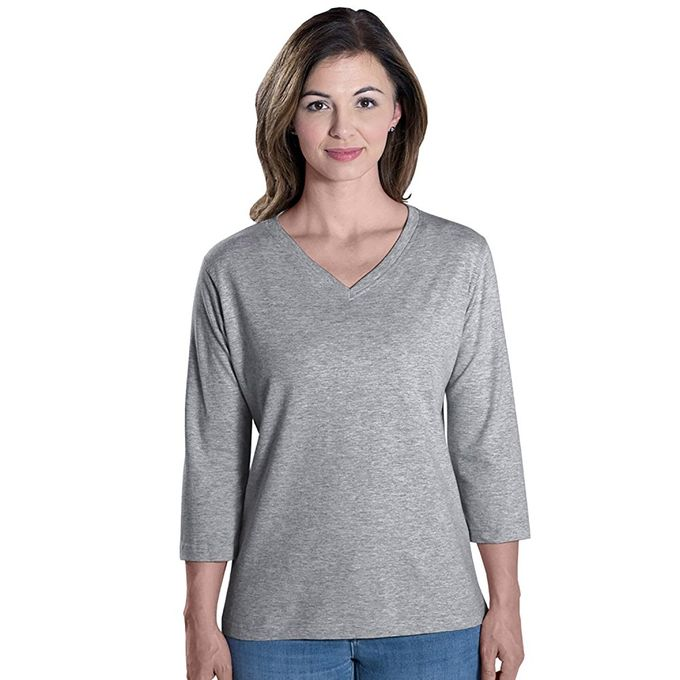 Apparel Ladies 3/4 Sleeve Jersey Tee V-Neck Tee [Heather, 2X]