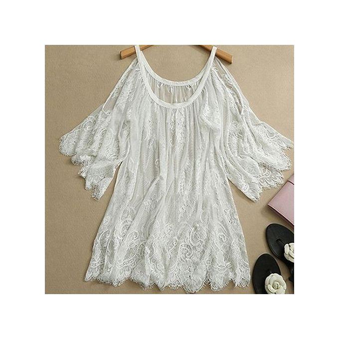 a6e2232ecd2e1 Women s Hippie Boho Off Shoulder Embroidery Floral Lace Crochet Party Tops  Dress-White