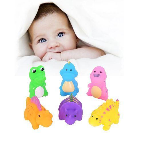 Schoolcool 6Pcs Silicone Dinosaur Baby Bath Toys Cute Animal Water Bathing Shower Fun Toy