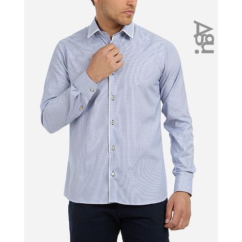 Plaided Buttoned Shirt - Blue & White