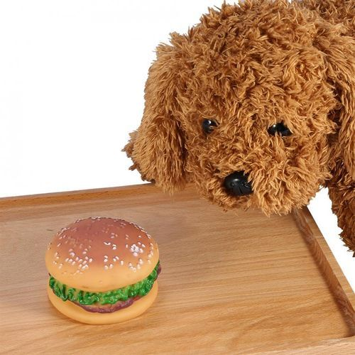 Creative Pet Toy Sound Hamburger Food Shaped Squeaky Puppy Dog Play Toys Supplies