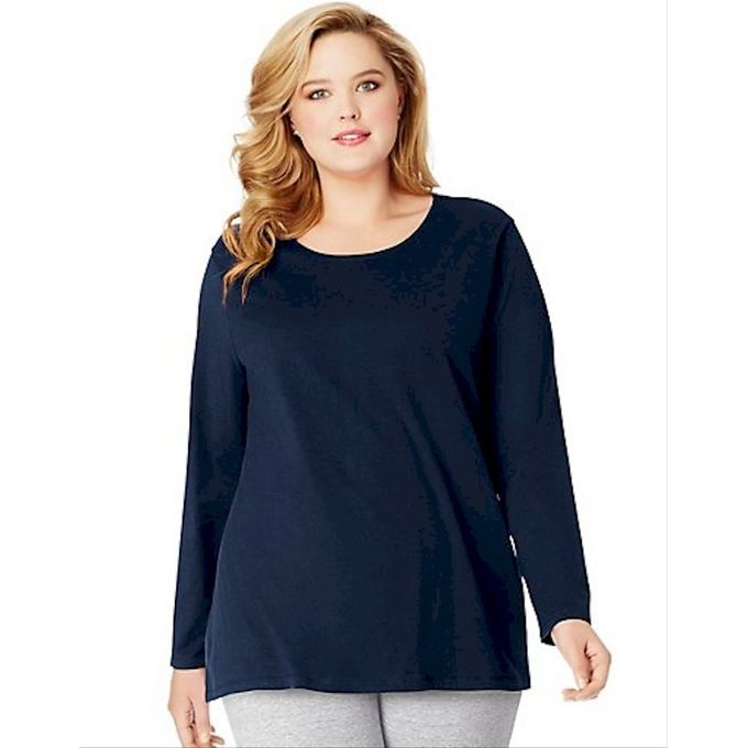 Just My Size Womens Plus Size Long Sleeve Tee [Hanes Navy, 2X]