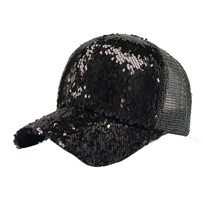 bdfb9177bd279 Tectores Fashion Trend Women Ponytail Baseball Cap Sequins Shiny Messy Bun  Snapback Hat Sun Caps BK
