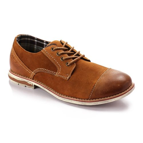 Leather Lace Up Oval Camel Casual Shoes