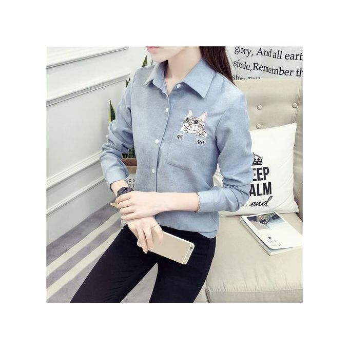 6c736c603 TB Autumn Winter Women Turn-down Collar Long Sleeved Cute Cat Embroidery  Shirt Blue