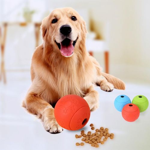 Minxin Pet Puppy Dog Snack Bounces Ball Feeding Treat Chewing Toy For Training Red