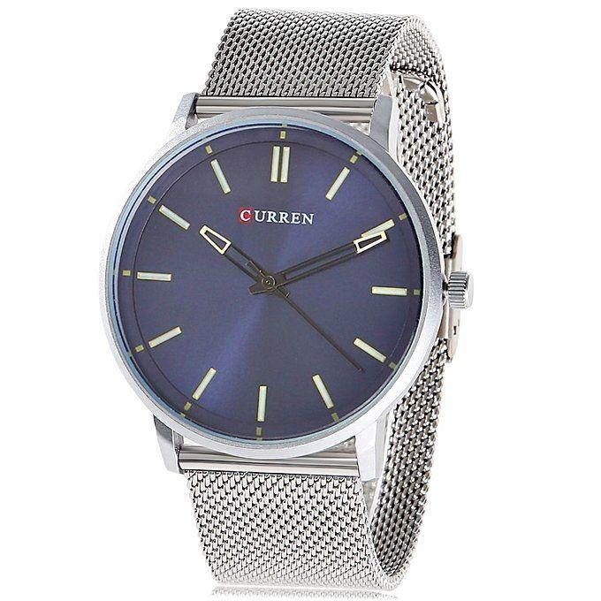 3610c8481 CURREN 8233 Fashion Steel Net Strap Simple Nailed Scale Male Quartz Watch- Silver