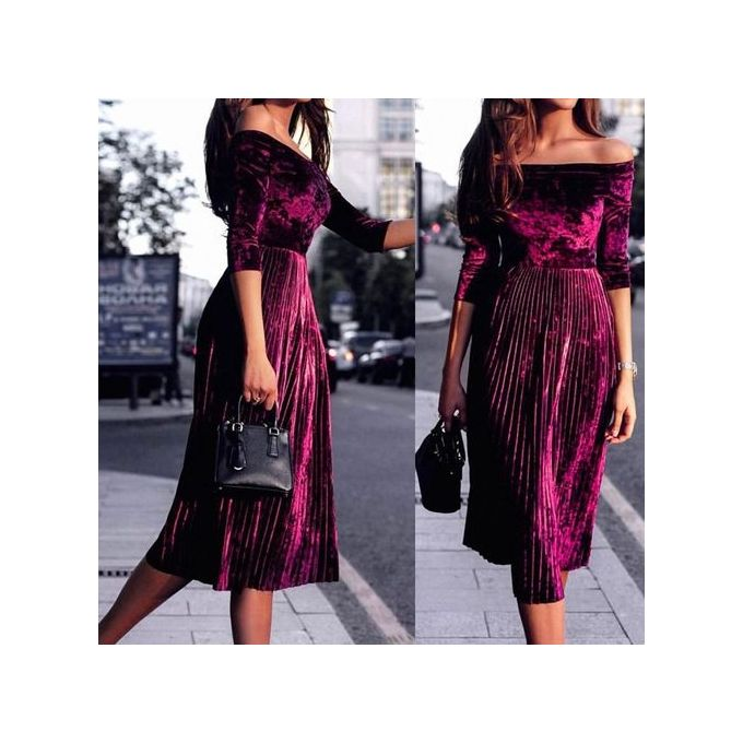 dd3c0993d0a4 Womens Off Shoulder Velvet Dress Ladies Evening Party Loose Dress Off  Shoulder Lady Dress - Wine