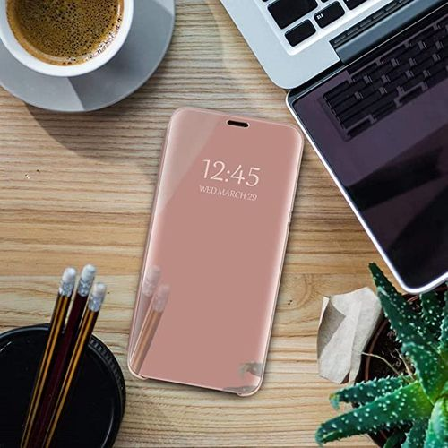 best authentic dfce9 d2b82 Huawei Honor 10 Lite Leather Case Cover With Flip Stand Function Plating  Mirror-Rose Gold