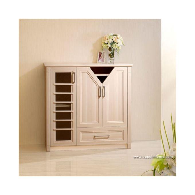 Hc Simple Beige Small Wood Shoe Cabinet