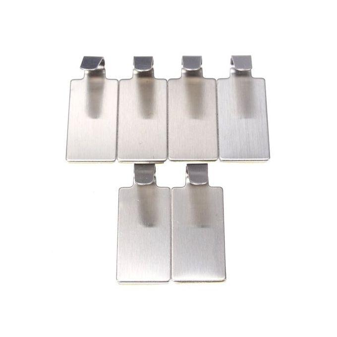 ... 6X Self Adhesive Home Kitchen Wall Door Stainless Steel Stick Holder Hook Hanger