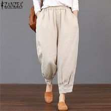 ca596db42a0 ZANZEA Women Basic Loose High Waist Pants Capris Cropped Plus Size Trousers