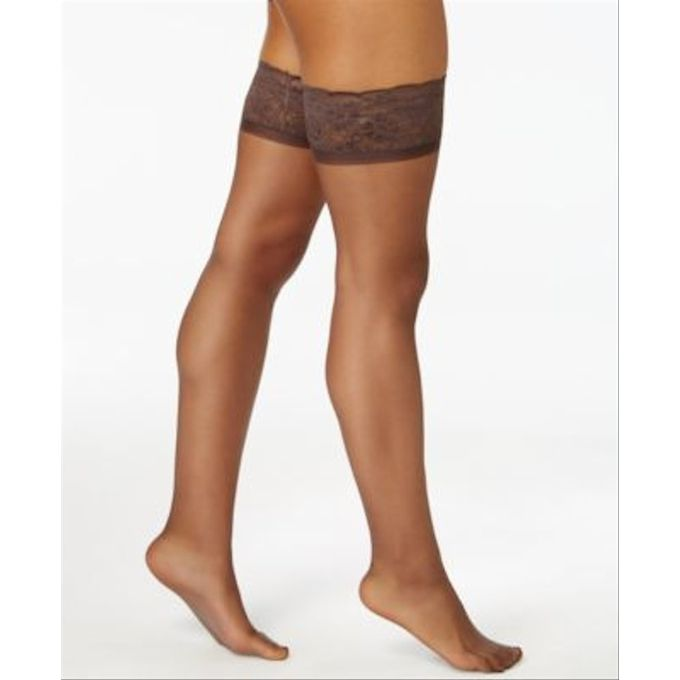 Hanes Silk Reflections Womens Lace Top Thigh High [Barely Black, C/D]