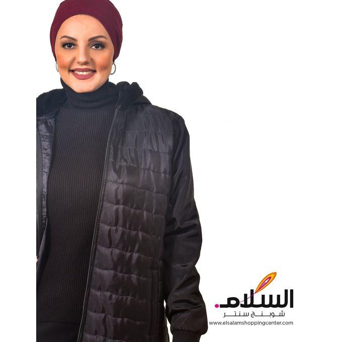 Hooded Sweaters Long  Fur - Black
