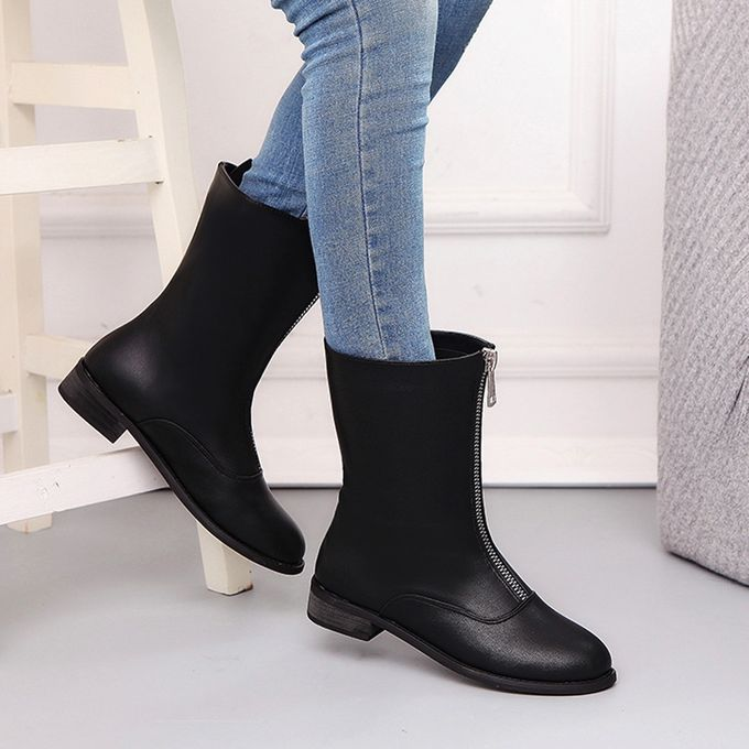 3073239ff686 Ladies Womens Low Wedge Solid Ziper Biker Ankle Trim Flat Ankle Boots  Shoes- Black 35