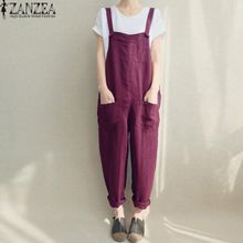 b7e067702a5 ZANZEA Long Pants Overall Trousers Women Spaghetti Strap Pockets Casual  Jumpsuit - Purple