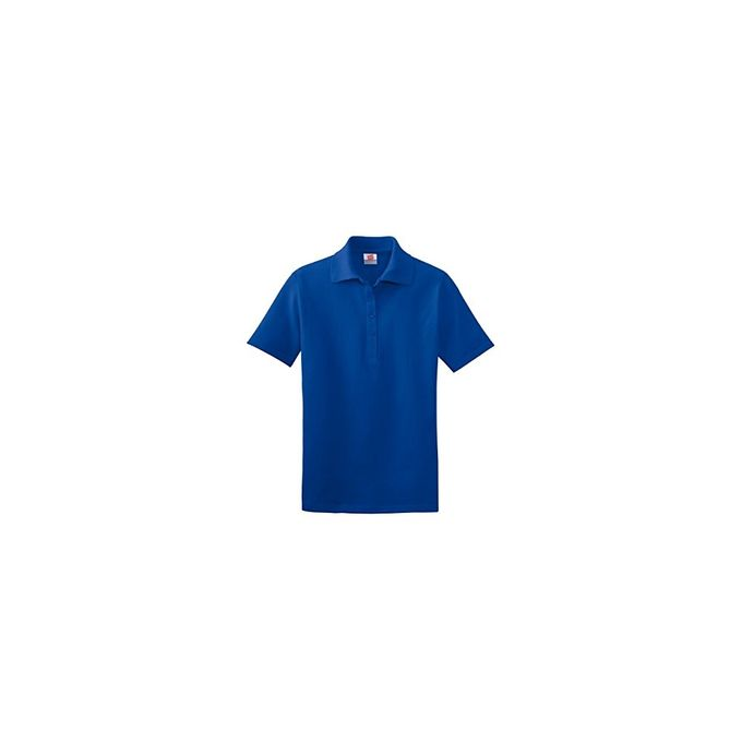 Hanes Ladies Cotton Pique Sport Shirt [Deep Royal, Small]