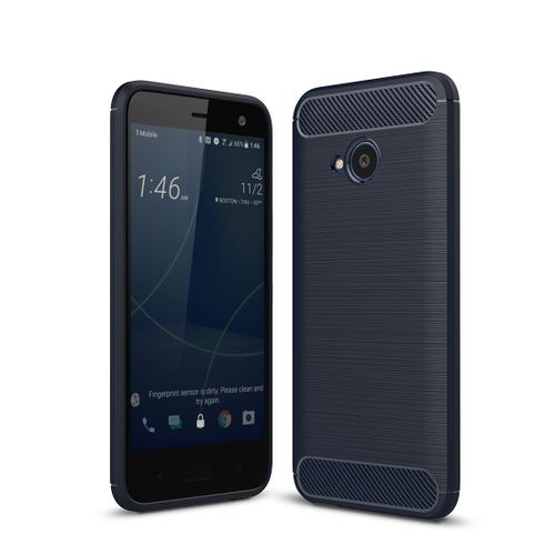 official photos e2be8 ee1b6 For HTC U11 Life Brushed Texture Carbon Fiber Shockproof TPU Protective  Back Case(Navy Blue)