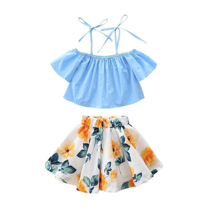 ef2baa08e806 FashionToddler Baby Girls Strap Off Shoulder Tops Floral Skirt Outfits  Clothes Set