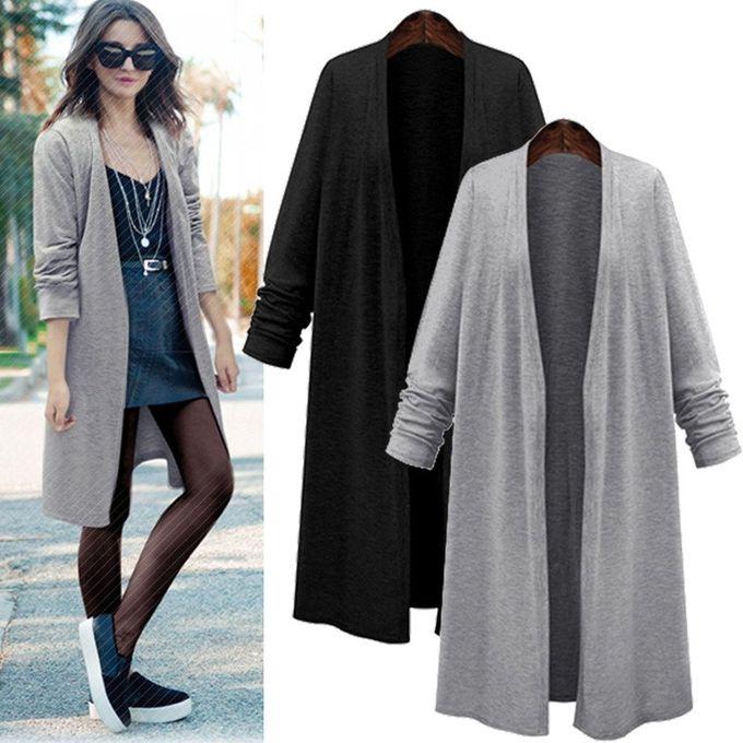 15e65026 ZANZEA Fashion Women Long Sleeve Casual Loose Cardigan Long Jacket Trench  Coat Parka Top (Black