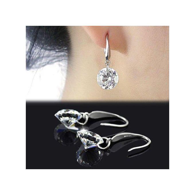 Crystal Wedding Pendientes Mujer Silver Color Zircon Crystal Dangle  Earrings Fashion Jewelry Women Brincos Dropship & Wholesale