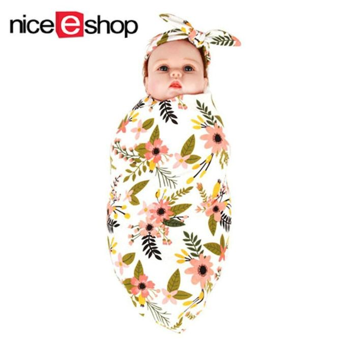 Lovely Style Newborn Baby Swaddle Blanket Bunny Ears Headband Set –  مصر