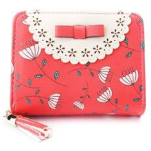 b99cd7cd62 Fashion Women Wallet Bow Flower Short Purse Card Holder Mobile Zipper  Handbag Watermelon Red