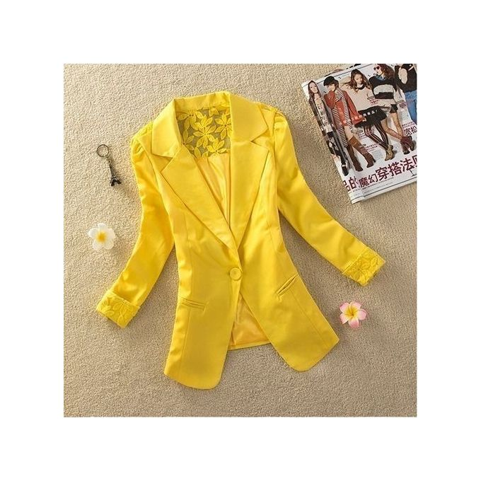 2eaff6b6fb5cc Womens Business Suits Spring Autumn All-match Women Blazers Jackets Short  Slim Long-sleeve Blazer Women Suit-yellow
