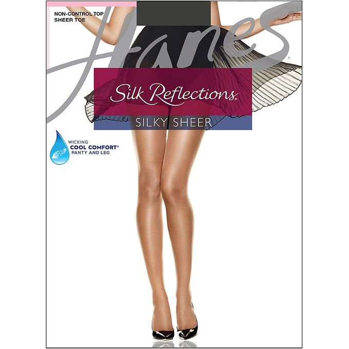 Hanes Womens Non Control Top Sandalfoot Silk Reflections Panty Hose [Barely Black, C/D]