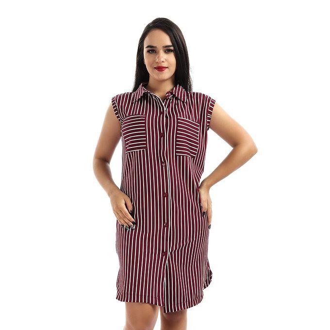 256d187f90ec9 قميص طويل بدون أكمام مخطط - نبيتي - Jumia مصر