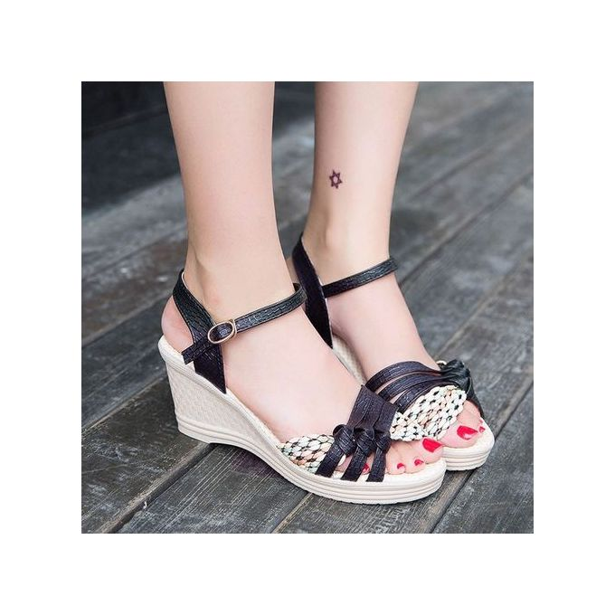 c0e2fa7c4 ... Jiahsyc Store Ladies Women Wedges Shoes Summer Sandals Platform Toe High -Heeled Shoes-Black ...