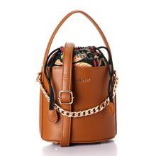 e71c21ee8d730 Elegant Small Floral Inner Pattern Bucket Bag - Camel