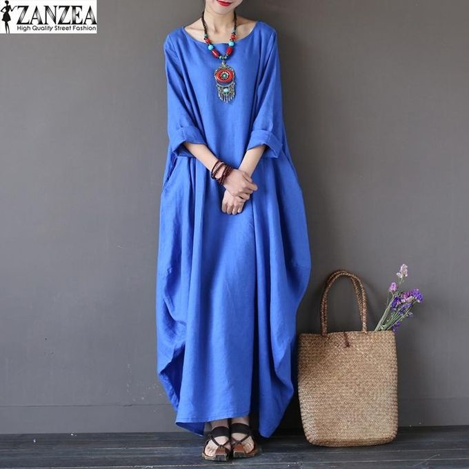 b4874cec23 ZANZEA Womens Crewneck 3 4 Batwing Sleeve Baggy Maxi Long Shirt Dress  Casual Party Kaftan