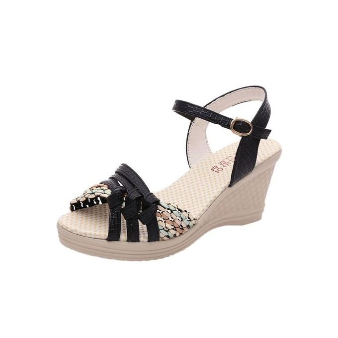 23c7a536e Jiahsyc Store Ladies Women Wedges Shoes Summer Sandals Platform Toe High-Heeled  Shoes-Black