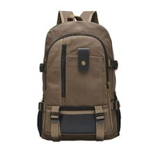 2d1793ec03129 Large Capacity Backpack Leisure Travel Solid Color Canvas Backpack Student  BagBW