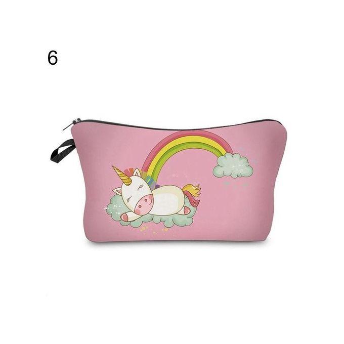 b58185b3d111 Sanwood Women Emoji Unicorn Printed Makeup Pouch Handbag Cosmetics Bag Case  Purse-6
