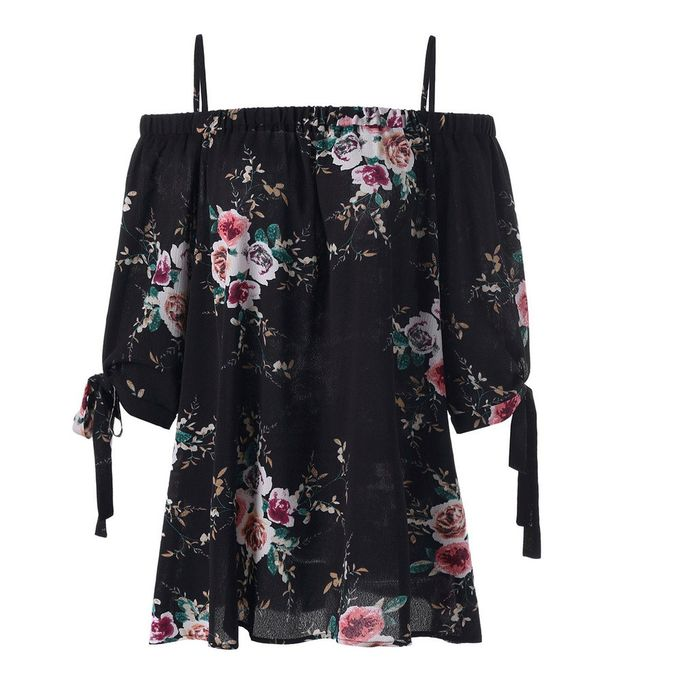 2627a3cef2143 Fashion Women s Korean-styles Plus Size Floral Print Cold Shoulder Blouse  Casual Tops Camis