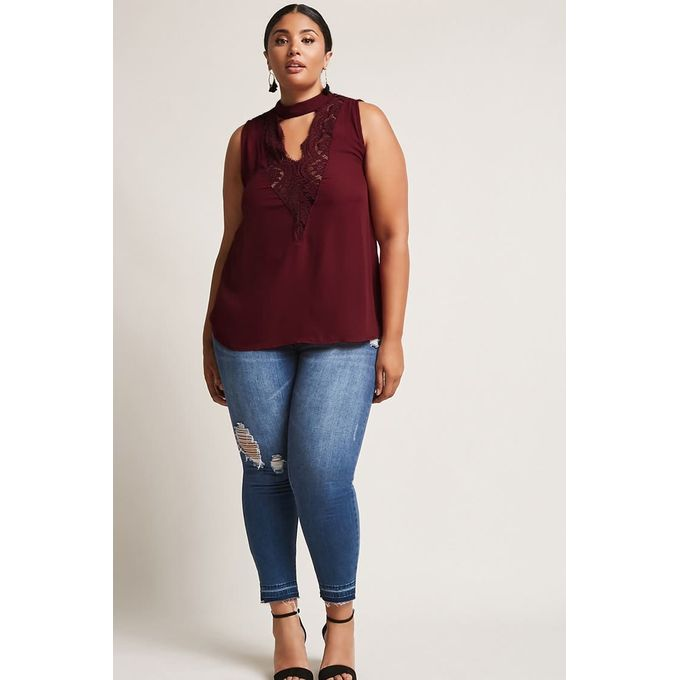 Plus Size Lace-Trim Cutout Top