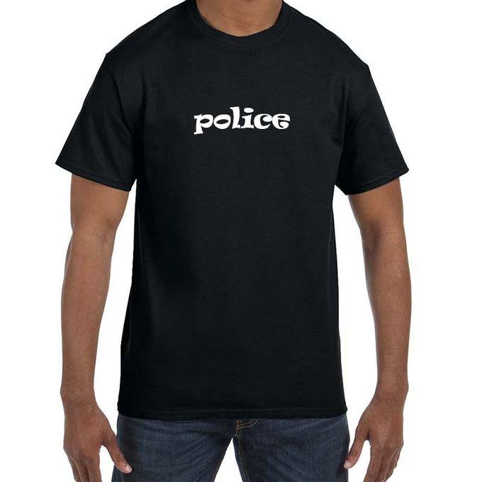 cf3472753 Printed Round Neck Cotton T-Shirt -Police-Black - Jumia مصر