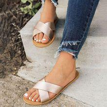 ade31731e33a4 Hiamok Women  039 s Ladies Flat Cross Belt Slip On Beach Sandals Roman Shoes